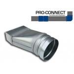 Verloopstuk Asymmetrisch rechthoekig 110 x 55mm naar rond Ø 100mm - Staal [Pro-C]
