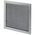 Wandrooster met vast raster (LxH) 400x400mm - aluminium - naturelkleurig