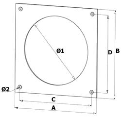 muurflens afwerkplaat voor kunststof ventilatiekanaal