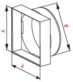 Kunststof verloopstuk van rond naar vierkant