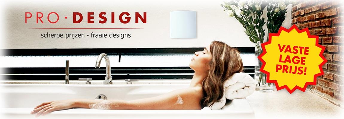 Pro-Design badkamerventilator met front in glas, RVS of kunststof